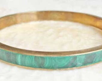 Remarkable 'Malachite' Gemstone & Brass Bangle