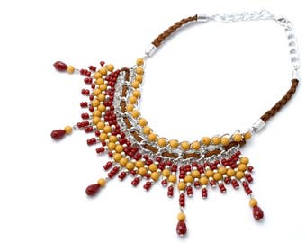 Statement necklace wine-colored/ochre