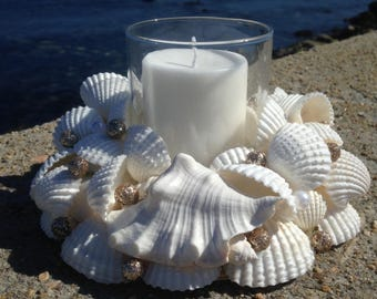 Beach Decor - Wedding - White Shell Wreath With Candle (CW025)