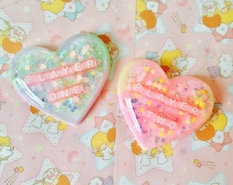 BFF Player One And Player Two Resin Hearts