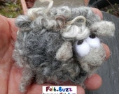 Large needle-felted grey sheep brooch, badge for bags, coats, scarfs etc