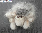 Needle-felted grey sheep brooch, badge for bags, coats, scarfs etc