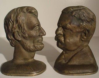 Bronze Roosevelt - Lincoln mixed bookends