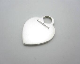 Tiffany & Co. Sterling Silver Classic Plain Heart Tag Charm Pendant