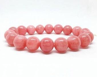 8 MM Pink Coral Bead Bracelet