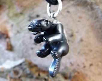 Honey badger necklace , silver pendant or charm