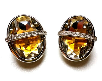 DIOR earrings / Christian dior strass clips