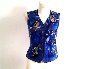 HERMES / Vintage sleeveless silk shirt / Top Size 36