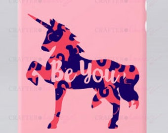 """Preppy Print Unicorn """"Be You"""" vinyl decal (Patterned Prints) - 2"""", 3"""", or 4"""" - solid colors and patterns available"""
