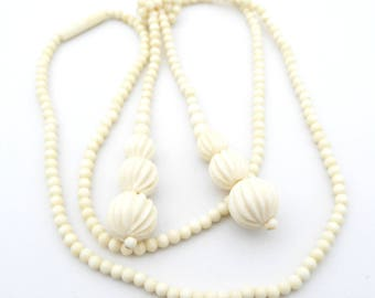 Vintage Bone Cream Lariat Necklace