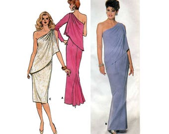 Women's Off-Shoulder Toga Style Dress or Evening Gown with Single-Layer Pleated Drape Sewing Pattern Size 12 Bust 34 Uncut Butterick 3888