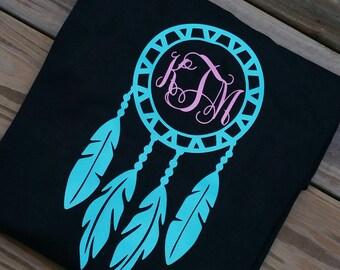 Short Sleeved Monogram Dream Catcher T-Shirt   Women's Monogram Dream Catcher Shirt, Dreamcatcher Shirt, Gypsy Shirt