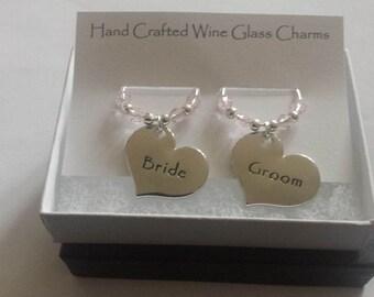 Wedding Wine Glass Charms, Bride & Groom Charms, Wine Charms, Swarovski Crystal Beads - Boxed