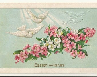 Early 1900s Divided Back DB Holiday Postcard- Easter Wishes- Flowers, Doves ~ Free Shipping