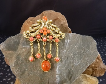Hollycraft Regal Renaissance Revival Style Vintage Brooch | Dangling Old World Elegance | Faux Pearls and Coral Colored Stones Signed Pin