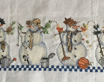 Seasonal Snowmen Completed Cross Stitch