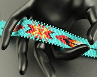 Native Star...Native American Inspired.Loom woven.Miyuki Delica Seed Beads.Bracelet.Turquoise.Fringe.Pewter Button and Charm.Feather