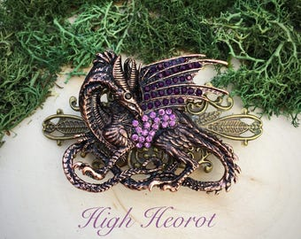 Fairy Tale Enchanted Dragon Hair Barrette Khalessi Jewelry Dragon Hair Jewelry Gift Fantasy Barrette Fantasy Dragon Clip Dragon Lover Gift