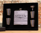 Groomsman Flask Set, Personalized Flask Set for Groomsmen, Ushers and Best Men, White, Gray, Rustic Wedding