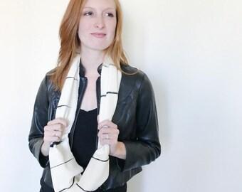 White and Black Stripe Scarf-Infinity Scarf-Silk Scarf-Scarves for Winter-Scarves for Fall-Silk Scarves-Scarves-Fall Scarf-Fall Scarves-