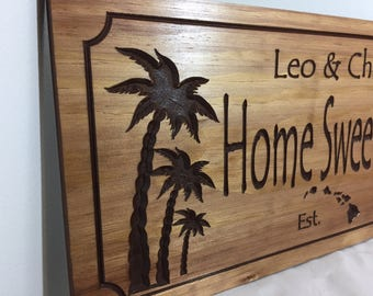 Palm Trees Beach House Signs Home Sweet Home Welcome Signs Hawaiian Islands Coconut Trees Ocean Sea Rising Tides Surfing Signs Lake House