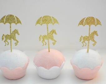 Carousel cupcake topper, horse cupcake topper, carousel horse cupcake topper, carousel party