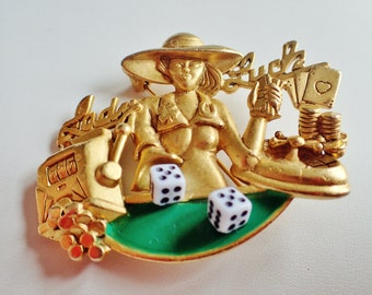 Rare  AJC Lady Luck Gambling Brooch Pin