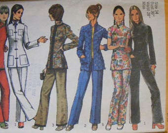 1970's Vintage Ladies Tunic and Pants Uncut Simplicity Sewing Pattern 9961 Size 14 Bust 36""