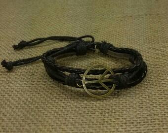 Dark Brown Peace Bracelet - Gold Tone Peace Sign Bracelet- Brown Leather Bracelet -Peace and Love Bracelet-Brown Braid Bracelet Peace Symbol