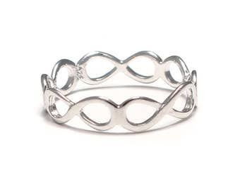 Infinity silver ring 925 sterling silver