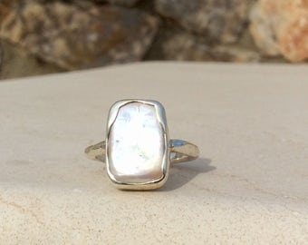 Pearl Silver Ring, US 8.5, Large Pearl Stone Ring, June Birthstone Silver Ring, Freshwater Pearl Boho Silver Ring