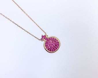 Pomegranate Ruby Stone Sterling Silver over Rose Pink Gold Plated,  Trending Necklace