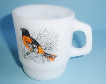 Fire King Baltimore Oriole Glass Mug Vintage Milk Glass Stacking Mug By Anchor Hocking Made in USA