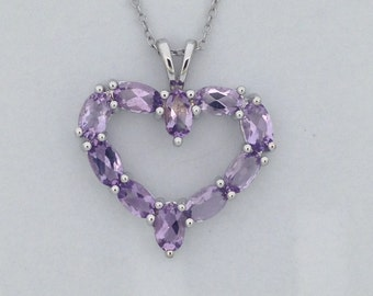 Natural Amethyst Heart Pendant 925 Sterling Silver