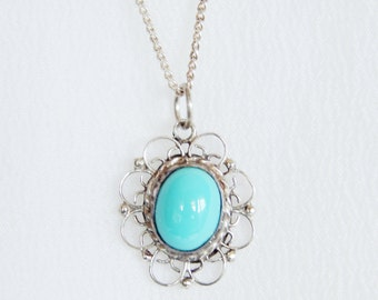 """925 Sterling Silver Filigree Necklace With Robin's Egg Blue Cabochon 19"""" Made In Mexico"""