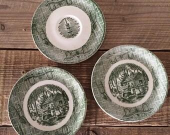 Set of 2 Green Transferware Bread & Butter Plates + 1 Saucer
