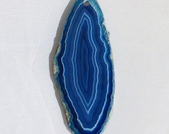 Blue Banded Agate Gemstone Pendant - 27mm x 65mm