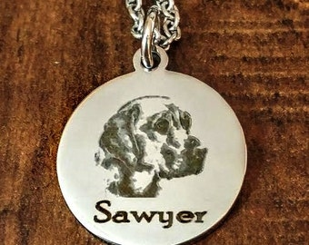 Dainty Labrador Retriever, Lab or ANY BREED Engraved Personalized Necklace