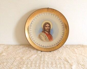 Vintage 22k Gold Trimmed Plate Jesus