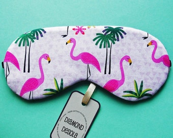Eye Sleep Mask, Pink Flamingos Cotton Print Relax Travel, Festival, Blackout, Spa, Slumber, Bachelorette, Hen, Tropical Party.  UK made Gift