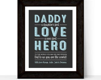 Birthday gift for husband, Personalized gift for dad, Fathers Day Present Ideas A Daughters first love A Sons first Hero, Gift Ideas for men