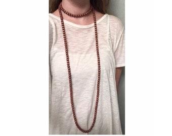 Extra Long Double Wrap Necklace Mauve