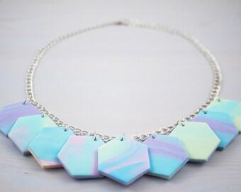 statement necklace, geometric necklace, handmade polymer clay pendants, fimo jewellery handmade