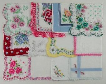 Vintage Hanky Lot of One Dozen Assorted Vintage Hankies Handkerchiefs (Lot #V13)