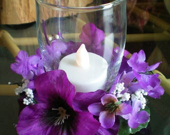 Floral Candle Holder Arrangement with Battery Candle ~ Purple