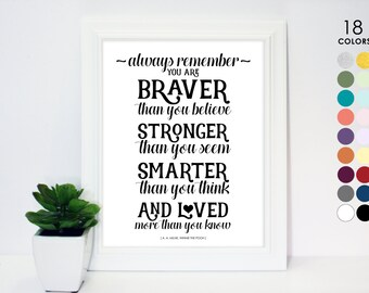 Black and White Poster Always remember you are braver than you believe stronger than you seem smarter than you think loved, Winnie the Pooh