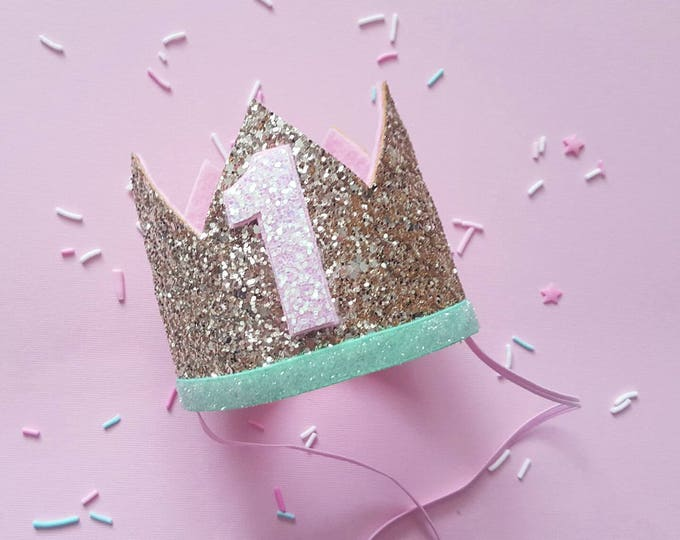 Birthday Crown || Pink and Gold Birthday || Pink and Mint || Gold Crown || Birthday Girl || First Birthday || Baby Crown || Birthday Girl