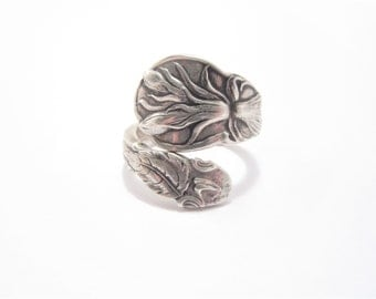 Vintage Floral Sterling Spoon Ring Size 6.5 Hallmarked