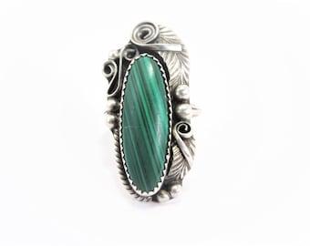Vintage Justin Morris Navajo Sterling Malachite Ring Size 8