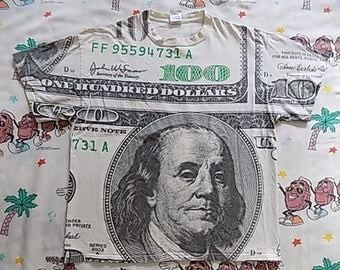 Early 00's One Hundred Dollar Bill all over print T shirt, size Large cash money